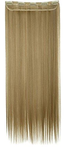 Extension capelli clip in hair one piece 65cm fascia unica 5 fermagli capelli lunghi lisci 3/4 full head larga 25cm vari colori, biondo chiaro mix biondo chiarissimo