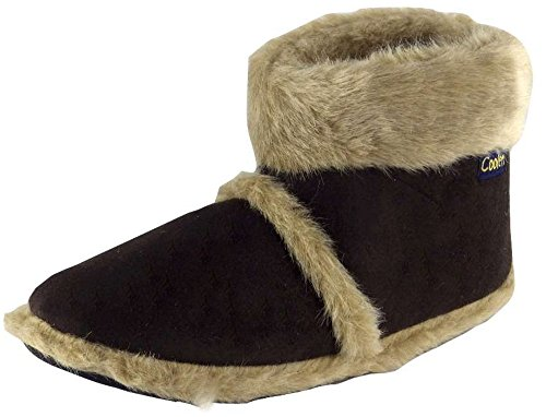 MENS COOLERS SLIPPERS WITH FUR CUFF (Large UK 11-12, Brown)