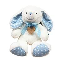 Hoolaroo Personalised Traditional Plush Baby Bunny with Vintage wooden personalised Soft Toy engraved heart tag Cream / Blue