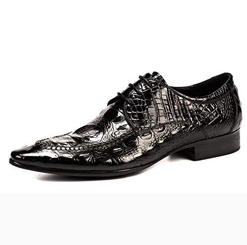 Neue KrokopräGung Wies Schuhe Herren Britischen GüRtel Leder Business Jugend Trend Leder Uniform Kleid Retro Hochzeit GrößE Schuhe Atmungsaktiv Tragen,Black,44 -
