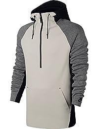 tech Felpa mezza zip con cappuccio uomo Nike grigio/nero/panna