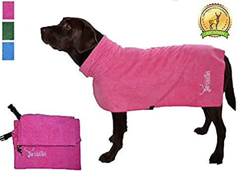 X Large Microfibre Dog Robe by Arcadian in Blue and Pink. These Luxurious Robes make the Perfect Gift for your Beloved Pet. Made of Premium Quality Microfiber, These Robes are Lightweight, Quick Drying and Super Absorbent. Arcadian Robes are Easy to Use, Comfortable and come with Adjustable Straps. Fantastic When Used with an Arcadian Microfibre Dog Towel. 100% Satisfaction Guarantee! (X Large,