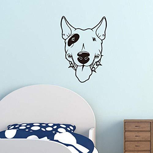 Pitbull apliques de pared de vinilo para perros cabeza de perro linda papel pintado adhesivo removible para niños sala de estar calcomanía mural decoración del hogar 42x60 cm (Perro Pitbull)