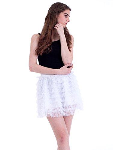 Honeystore Damen's Kurz Tutu Tüllrock Petticoat Kleid Minirock Tütü Ballerina Tüll Rock Reifrock One Size Weiß (Einfache Diy Anna Kostüm)