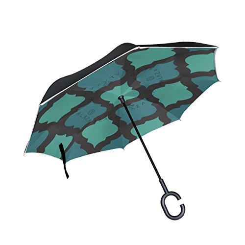 TIZORAX Mosaik arabischen Farbe mit Blau seitenverkehrt Double Layer gerade Regenschirme Inside Out...