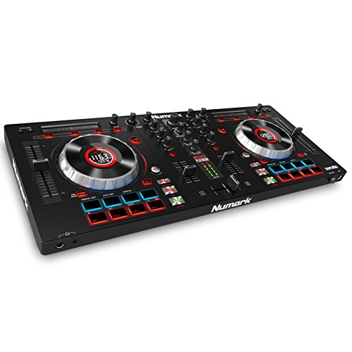 Numark Mixtrack Platinum All-In-One 4-Deck DJ Controller mit LCD Displays, 5 Zoll Touch  Jog Wheels, Multifunktions - Touch Strip und 24-bit Audio Interface, Serato DJ Lite, Prime Loops Remix Kit (Software Investieren)