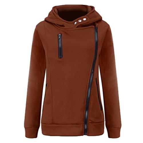 WanYang Damen Hoodies Kapuzenpullover Reißverschluss Langarm Sweatshirt Pullover Sweatjacke Mit Kapuze Oberteile Kaffee