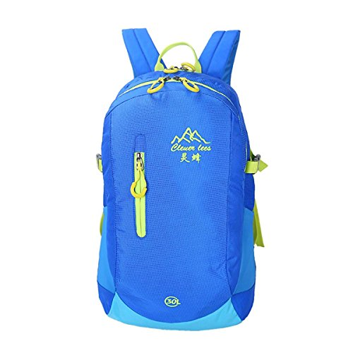 30L bergsteigen rucksack einfarbig casual umhängetasche studenten tasche mit großer kapazität leicht auf reisen in der packung racksacks für männer und frauen 5 farben Blue