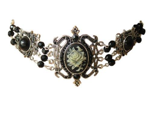Trachtenschmuck Dirndl Collier - Gothic Kropfkette mit Rosenblüten Gemme Kamee