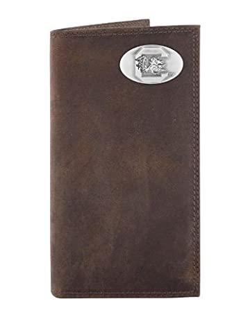 NCAA South Carolina Fighting Gamecocks Light Brown Crazyhorse Leather Roper Concho Wallet, One Size by Zeppelin Products, Inc.