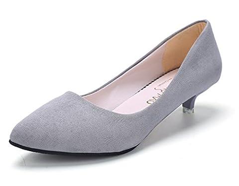 Minetom Femme Printemps Confortable Kitten Talons Chaussures Shoes Pointed Toe Décontractée Suède Chaussures Gris EU 37