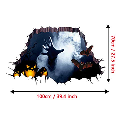 Tuopuda Halloween Wandtattoo 3D Ghost Hand Wandaufkleber Halloween Horror Deko Wanddeko 70 * 100cm (ghost)