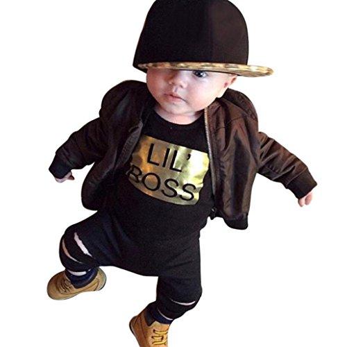 Wawer Newborn Baby Boy Strampler Jungen Bekleidungssets Neugeborene Kinder Outfits Kleidung Weste Tops + Lange Hosen Set(6Month-24Month) (Schwarz, 6Monate)