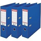 Esselte Lot de 3 Classeurs à Levier, pour l'Archivage, Couverture Plastique, A4, Dos 7,5cm, Bleu, N°1 Power, 624274
