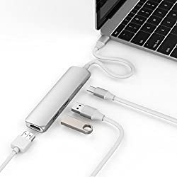HyperDrive USB Type-C Hub with 4K HDMI, Thunderbolt 3.0 Hub, USB 3.0 Hubs, Compatible with all Apple Macbook, MacBook Pros, and other Type C Devices (Silver)