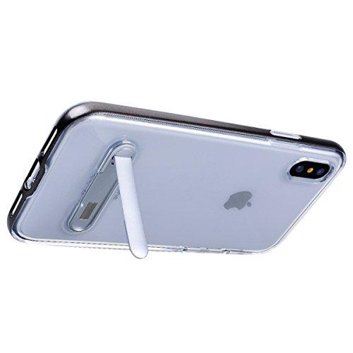 GrandEver iPhone X Hülle Weiche Silikon Handyhülle PC & TPU 2 in 1 Bumper Durchsichtig Schutzhülle für iPhone X Rückschale Klar Handytasche Anti-Kratzer Stoßdämpfung Ultra Slim Rückseite Silicon Backc Grau