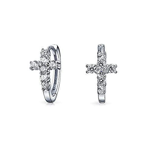 Bling Jewelry Sterling Silver Religious Pave CZ Cross Small Huggie Hoop Earrings