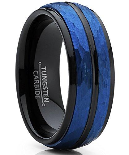 Ultimate Metals Co. Herren Schwarz und Blau wolframcarbid Verlobungsring und ehering Gebürstet.8mm Bequemlichkeit Passen Größe 66