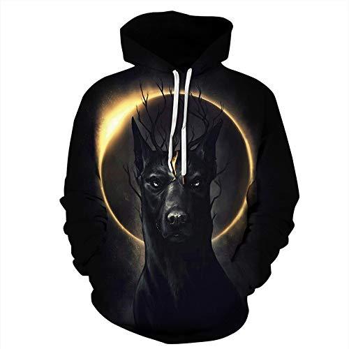 Mjia Hoodie,Unisex, 3D schwarzer Dobermann bedruckter Hoodie, Langarm-Sweatshirt mit Tasche, S/M (Halloween Taschen Individuell Bedruckte)