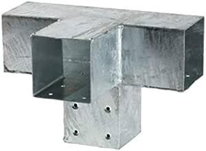 Giunto a 4 vie per travi in legno 9x9 connettore per pali in acciaio zincato