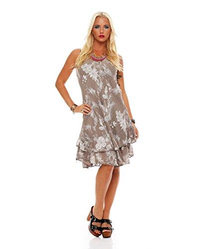 Zarmexx Sommerkleid Knielang doppellagig Baumwolle Kleid Strandkleid V-Ausschnitt floraler All-Over Prin -