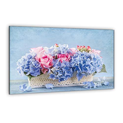 decorwelt | para cubrir la vitrocerámica Flores Azul Cubiertas salpicaduras Cristal protector...