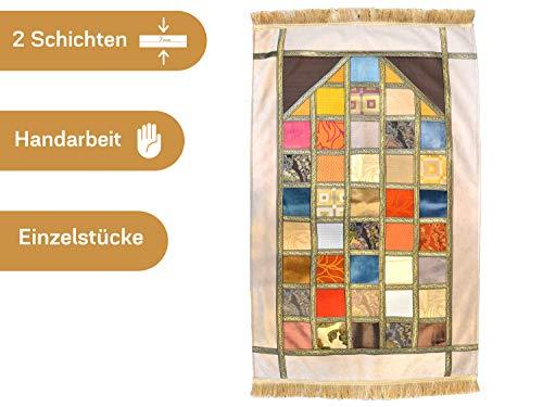 Imanpaper - Flicken Design Muslimische Gebetsteppich Namaz-lik Seccade, Gebets Matte | Salah Sejadah, islamic prayer mat rug, für das Gebet im Islam, perfekt als Geschenk 1,20x0,7m