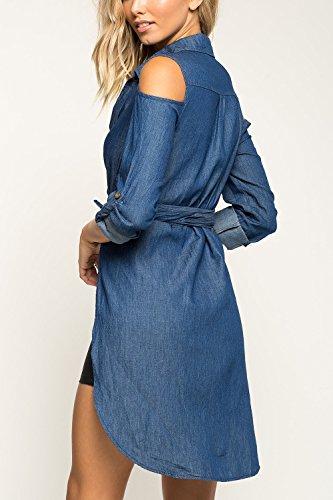 Les Femmes L'automne Long Manche De Bas En Haut, Les Impers Demin blue