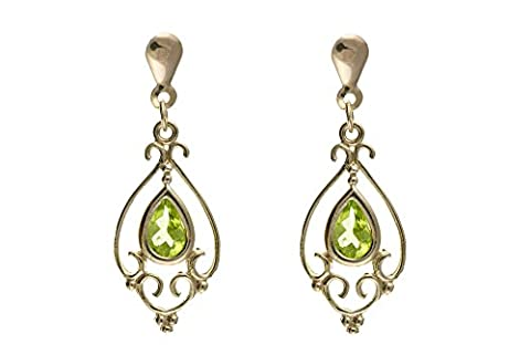 9ct Yellow Gold Victorian Design Natural Peridot Drop Earrings - Made in England
