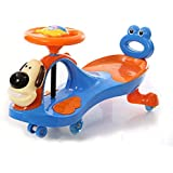 GoodLuck Baybee - Kids Twist And Swing Cartoon Doggy Face Magic Car With Music | Push Car Ride On Toy Suitable Kids For 3 To 8 Years - (Blue)