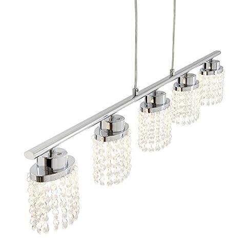 Briloner Leuchten LED Pendelleuchte, Hängelampe, Hängeleuchte, Wohnzimmerlampe, Pendel, Esszimmerlampe, Esstischlampe, Pendellampe, Esstischleuchte, Wohnzimmerleuchte mit klarem Kristallbehang, 5x LED 5 W, 5 x 400 lm, energiesparend,