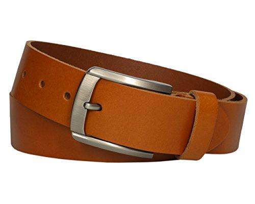 Vascavi ® Cinturón de cuero de piel, 4 cm de ancho y aprox. 0,3 cm de grosor, cuero auténtico, Made in Germany, para hombres y mujeres #4-0023 (100 cm Longitud total 115 cm, Coñac)