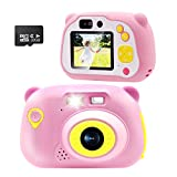 Sonkir 32 GB Fotocamera Digitale Ricaricabile, Fotocamera Frontale Portatile da 15,0 MP e Fotocamera / videocamera, Regalo per Ragazzi e Ragazze (Rosa)