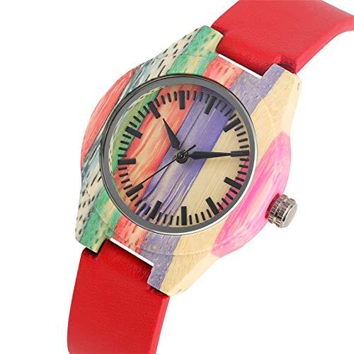 YLFDC Holzuhren Regenbogen-hölzerne Uhr-Damen-Quarz-Bewegungs-Art- und Weiserotes PU-Leder-Armbanduhr-beiläufige Frauen passt Einzelteil auf, rot