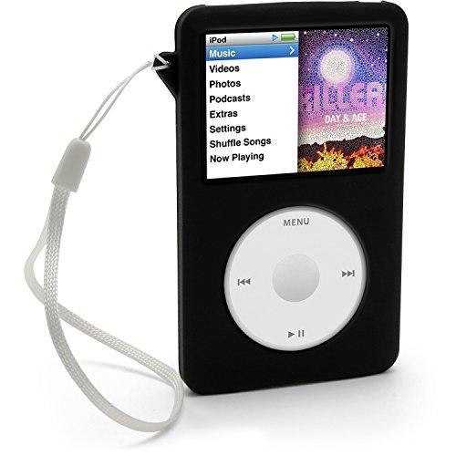 igadgitz Silikon Schutzhülle/Skin Schutzhülle mit Displayschutzfolie und Schlüsselband für Apple iPod Classic 80GB, 120GB & neuesten 6. Generation 160GB Erscheinung ab Sept 09+ Displayschutzfolie & Schlüsselband-schwarz