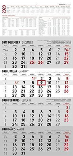 4-Monatskalender 2020 - Wandkalender - Bürokalender (30 x 63 geöffnet) - mit Datumsschieber - inkl. Jahresübersicht -