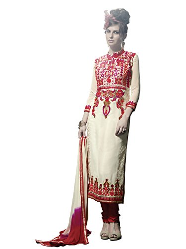 KANCHNAR Women's Georgette Dress Material (245D8002_Free Size_Off-White & Red)