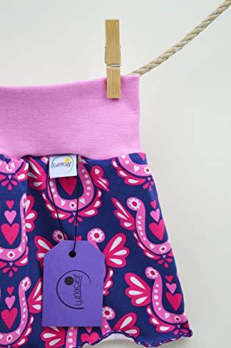 SALE - Rock aus Bio-Baumwolle, für Kinder, 98 104, Jersey, lila pink rosa weiß, Hufeisen, Blumen, Jersey, Mädchen, Geschenk - SALE