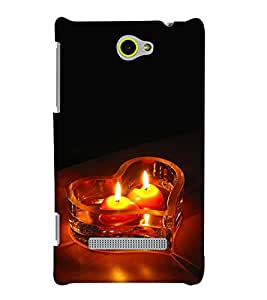 PrintHaat Designer Back Case Cover for HTC Windows Phone 8S :: HTC 8S :: Graphical design (love :: lovely candles in heart shape bowl :: romantic candle wallpaper :: lovely design :: lovable :: in black, yellow and orange)