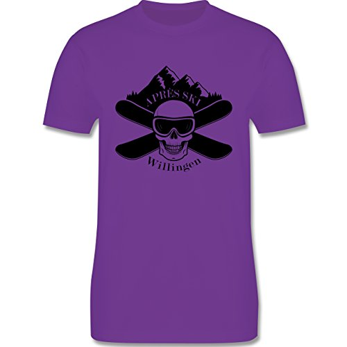 Après Ski - Apres Ski Willingen Totenkopf - Herren Premium T-Shirt Lila