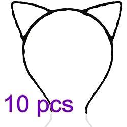 PIXNOR Venda del pelo de gato orejas diadema para niño y adulto paquete de 10 (negro)