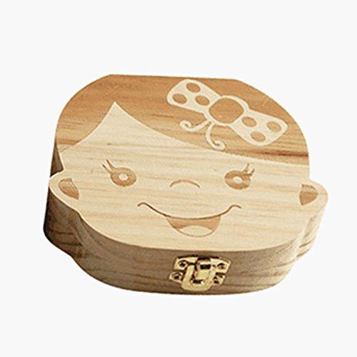 Delmkin Milchzahndose Süße Milchzahnbox aus Holz - für Baby Jungen und Baby Mädchen (Baby Mädchen)
