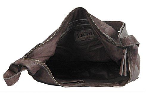 Vilenca Holland 40785, Umhängetasche, Schultertasche, Handtasche, Ledertasche Damen; 39x35x9cm (LxHxB) (brown) brown