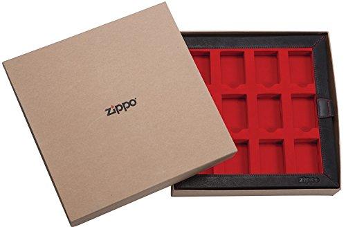 Zippo Leather Collectors for 12 Standard Lighters - Art.-Nr.: 17549 Leder Display, Braun, 30 x 30 x 5 cm,