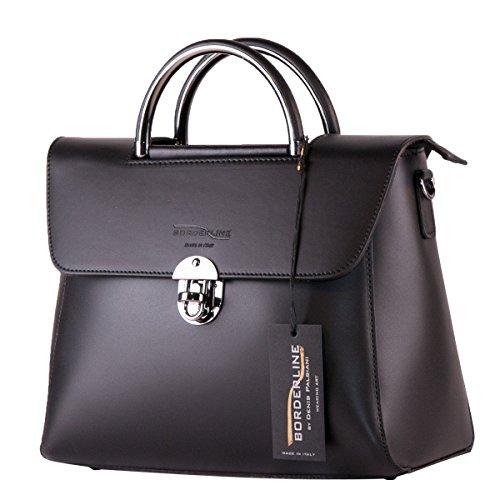 BORDERLINE - 100% Made in Italy - Femme sac véritable main en cuir - LAURA