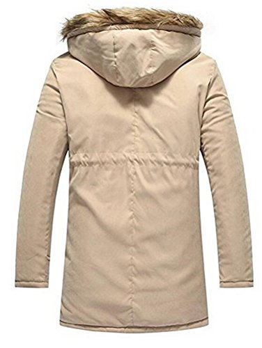 Brinny Manteau Automne Hiver pour Homme Jacket Veste à Capuche Fourrure Fausse Chaud Flez Coat Blouson Parka Veston Hoodie Kaki