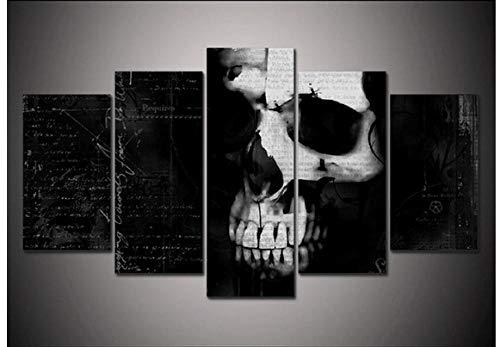 HNFSCLUB Bild auf Leinwand Drucken Sie Horror Spooky Skull Hallowee Bild Moderne Wohnkultur Wand Kunstdruck Halloween Gemälde auf Leinwand Kunst-S (Original-künstler Ist Dies Halloween)
