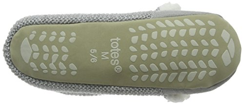 Totes - Totes Ladies Knit Back Novelty Bear Ballet Slipper, Pantofole Donna Grigio (Grigio (Grey))