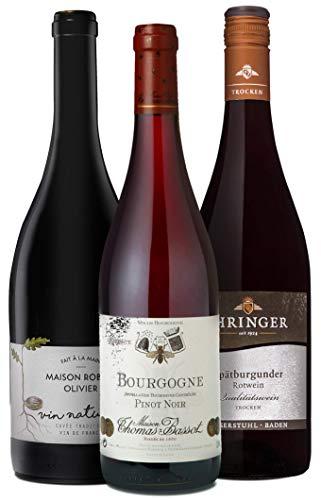 Wine A Porter Pinot Noir Entdecker-Set, 3 trockene Rotweine aus Frankreich, Deutschland und USA, ideales Weingeschenk, Jahrgänge 2014/16, 3 x 0,75 l