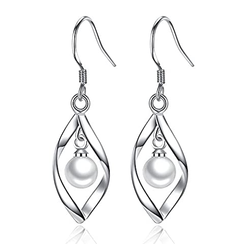 Wonvin Boucles d'oreilles Pendantes,925 Sterling argent feuilles forme incrustée Shell perle pendentif gland boucles d'oreilles argent pour les femmes un cadeau élégant